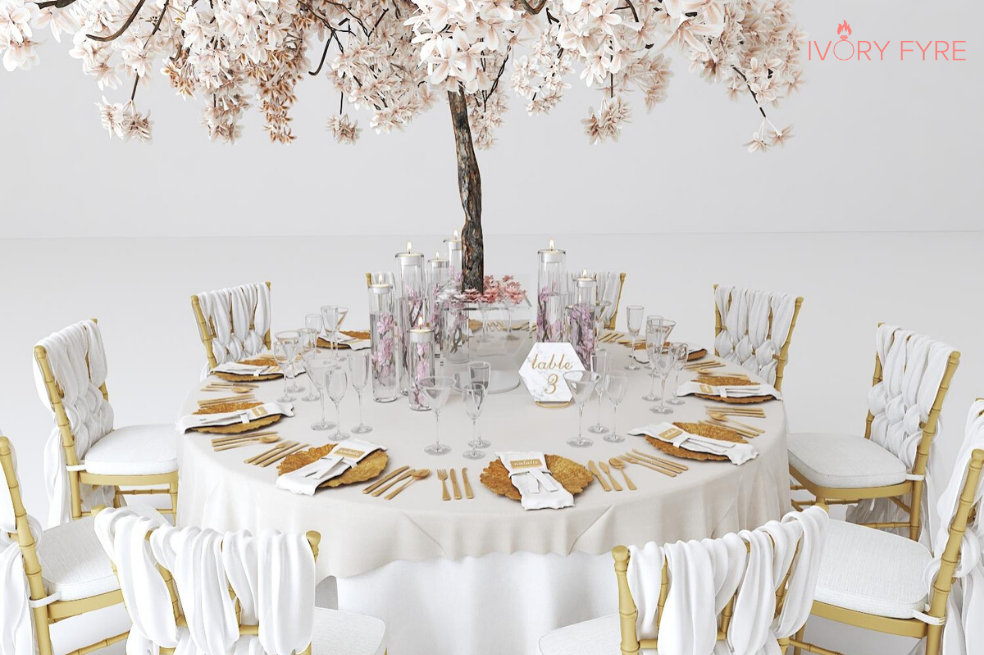 3D virtual wedding table design render