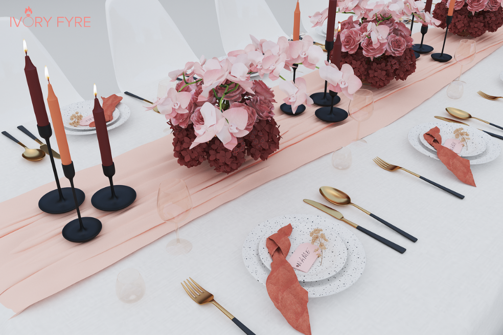 customised 3D virtual wedding table design render